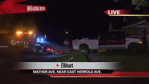 10p b police investigating a truck crashing into house in elkhart