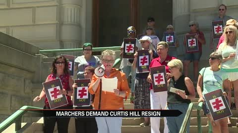 Advocates rally for Curtis Hill resignation