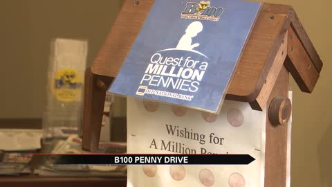 B100 collects pennies for St. Jude Children's Research Hospital