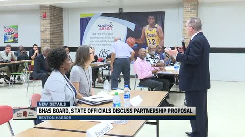 Benton Harbor Area Schools school board and state officials discuss...