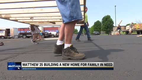 Church volunteers come together to build home for family