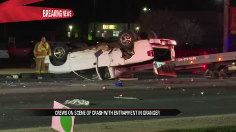 Crews at scene of an entrapment crash in Granger