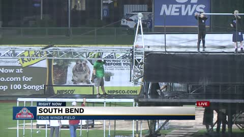 Crews work to tear down stage in preparation for Home Run Derby