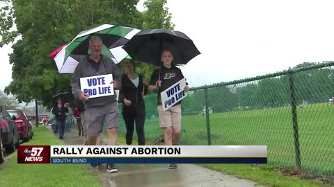 Crowd of pro-life supporters rally against South Bend abortion...