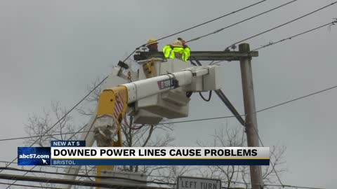 Downed power lines cause outages throughout all of downtown Bristol