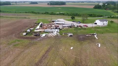 Drone video of tornado damage in Akron, Indiana