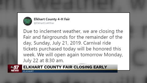 Elkhart County 4-H Fair to close down on Sunday due to inclement...