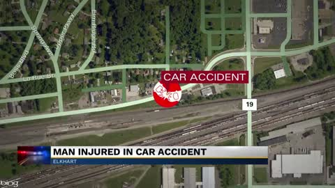 Elkhart man injured after crashing into several parked cars