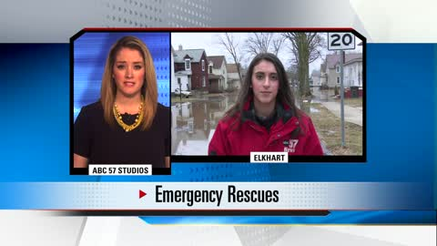 Woman, young man rescued from car stuck in flood waters in Elkhart