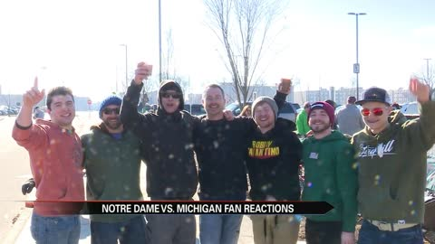 Fans celebrate Notre Dame vs. Michigan outdoor hockey showdown