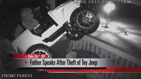 Surveillance video captures man stealing toy truck from front porch