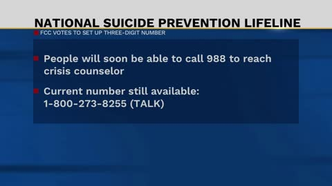 FCC unanimously approves proposal for new 3-digit number as Suicide...