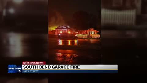 Firefighters battle garage fire in South Bend