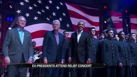 Five ex-Presidents attend hurricane relief concert; Trump appears in video message