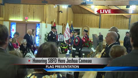 WATCH: Flag presentation to firefighter Joshua Comeau's family