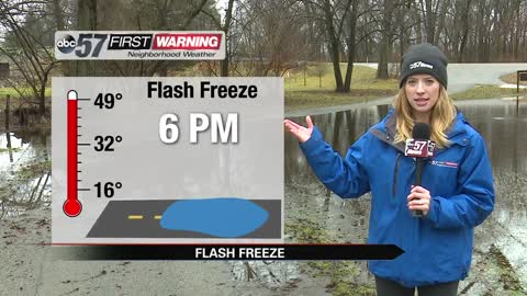 Flash freeze will cause icy roads tonight
