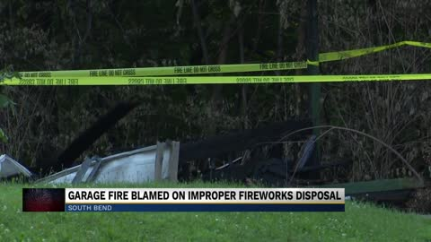 Improper disposal of used fireworks cause garage fire in South Bend