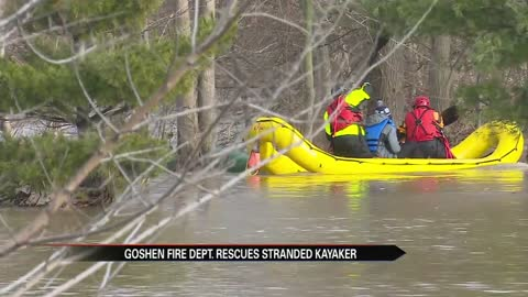 Goshen firefighters rescue stranded kayaker from floodwaters