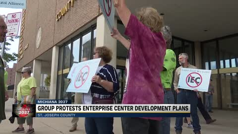Community members flood county council in protest of the Indiana Enterprise Center