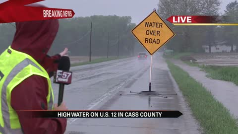 Heavy rain causes flooding on well-traveled roads