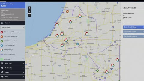 High wind gust moving across Michiana causing power outages