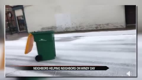 High winds toss around trash bins and trees in Dowagiac