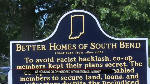 Historical marker placed to commemorate the Better Homes of South Bend