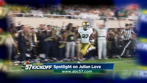 Julian Love making plays and history for Notre Dame
