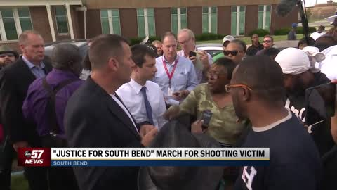 "Buttigieg, Ruszkowski face angry protesters at ""Justice for South Bend"" march"