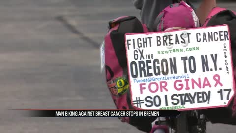 Man biking cross-country to beat breast cancer