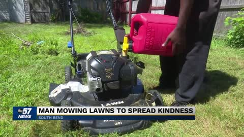 Man mowing lawns to spread kindness