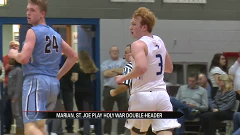 Marian sweeps Holy War double-header on the hardwood