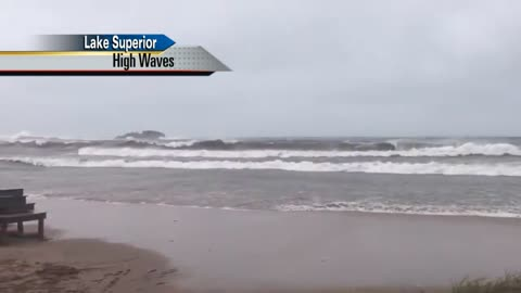 Massive waves churn in the Great Lakes
