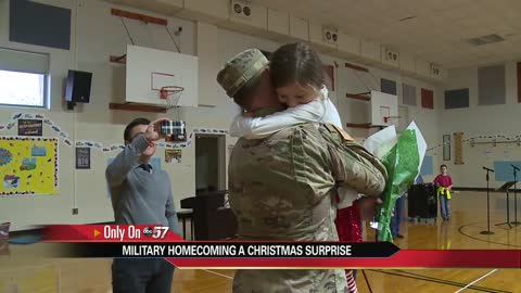 Military dad surprises daughter at Oxbow Elementary