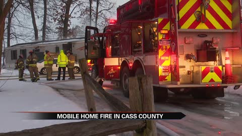 Mobile home catches fire in Cass County