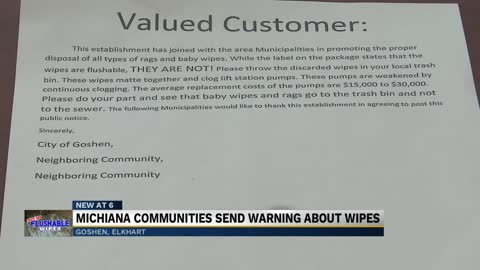 "More Michiana cites warn against flushing so-called ""flushable..."