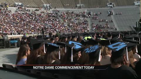 Notre Dame commencement delayed one hour due to weather