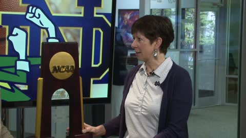 Notre Dame women's basketball coach talks national championship trophy tour