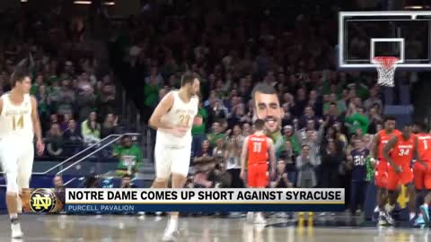 Notre Dame men's basketball comes up short against Syracuse...
