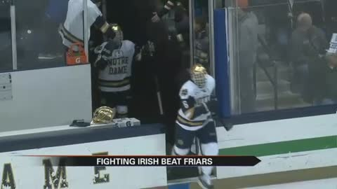 Notre Dame Hockey routs Providence, takes 1-0 series lead