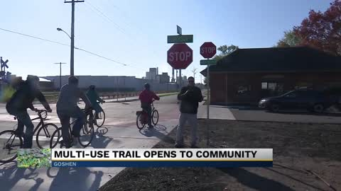 Officials for the City of Goshen celebrate opening of new bike trail