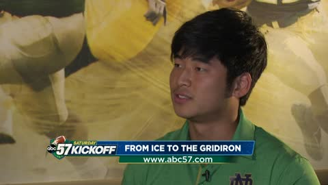 Place kicker Justin Yoon went from hockey to football after getting 'discovered'