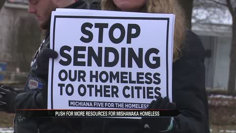 City hall protest: Calling for a homeless shelter in Mishawaka