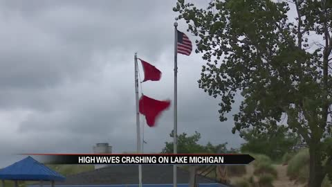 Heavy surf prompts red flag warnings at Lake Michigan beaches