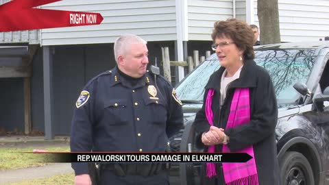 Representative Jackie Walorski tours flooded Elkhart neighborhoods