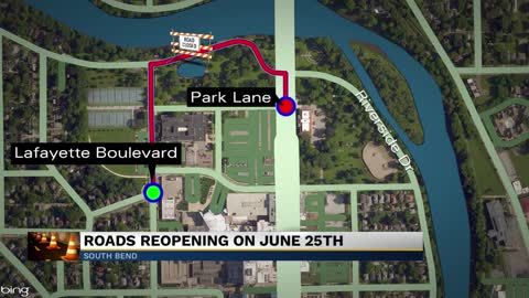 Road closures in South Bend due to Leeper Park improvement project