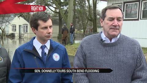 Senator Joe Donnelly tours flooded areas in South Bend