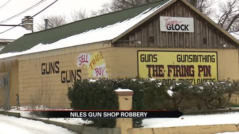 Stolen car crashes into The Firing Pin gun shop and suspects...