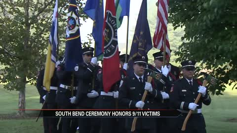 South Bend Fire Department holds ceremony at Freedom Memorial in St. Patrick's Park