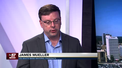 South Bend mayoral candidate James Mueller addresses recent shootings